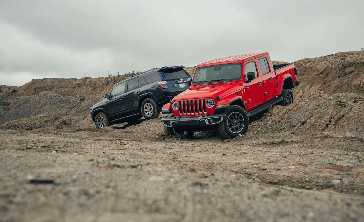 photos of the 2020 jeep gladiator and 2019 toyota 4runner