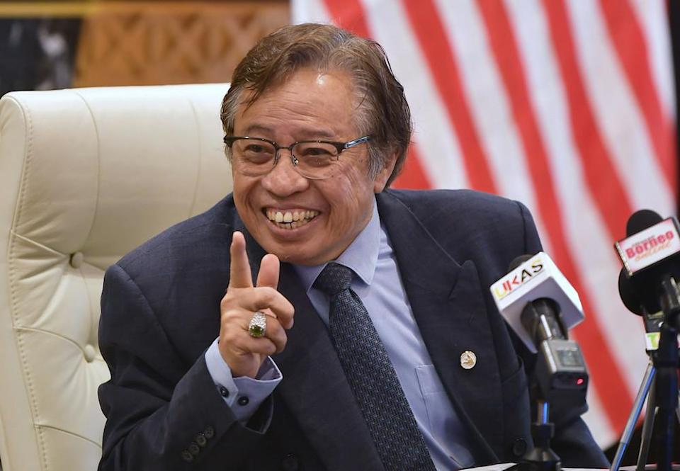 Sarawak Chief Minister Datuk Patinggi Abang Johari Openg said people should wait for an official statement from Istana Negara if there will be an emergency declaration. — Bernama pic