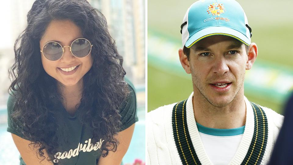 Prithi Narayanan, the wife of Indian cricketer Ravi Ashwin, has weighed in on her husband's slanging match with Australian captain Tim Paine. Pictures: Instagram/Getty Images