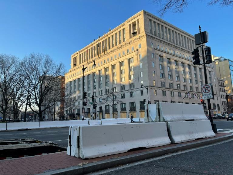 Extensive road closures are seen on a street near the White House in Washington on January 13, 2021, as the city makes preparations for US President-elect Joe Biden's inauguration