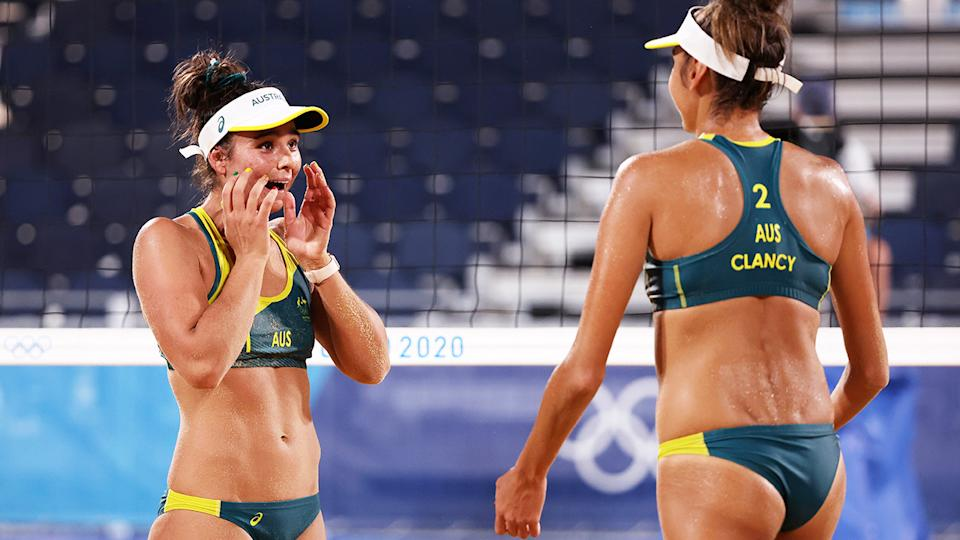 Mariafe Artacho del Solar and Taliqua Clancy, pictured here celebrating after reaching the beach volleyball semi-finals at the Olympics.