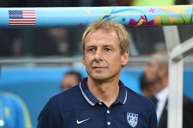 US German coach Juergen Klinsmann looks on during a Round of 16 football match between Belgium and USA at Fonte Nova Arena in Salvador during the 2014 FIFA World Cup on July 1, 2014 (AFP Photo/Francisco Leong)
