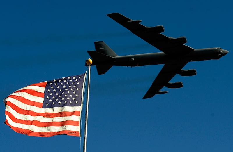 A B-52 bomber performs a flyover in Forth Worth, Texas: Rusty Jarrett/Getty Images for NASCAR