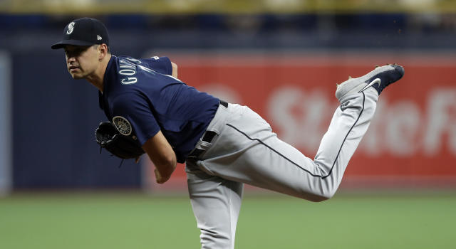 Seattle Mariners' Marco Gonzales follows through on a pitch to the Tampa Bay Rays during the first inning of a baseball game Monday, Aug. 19, 2019, in St. Petersburg, Fla. (AP Photo/Chris O'Meara)