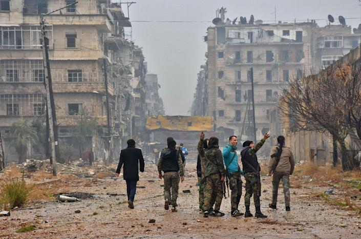 Syrian pro-government forces in Aleppo in 2016.