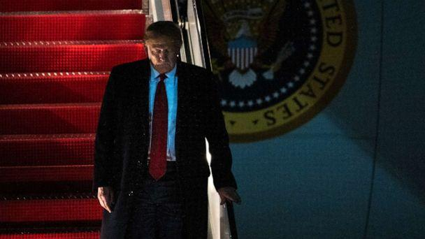 PHOTO: President Donald Trump exits Air Force One on Wednesday, Jan. 22, 2020, at Andrews Air Force Base, Md., after returning from the World Economic Forum in Davos, Switzerland. (Kevin Wolf/AP)