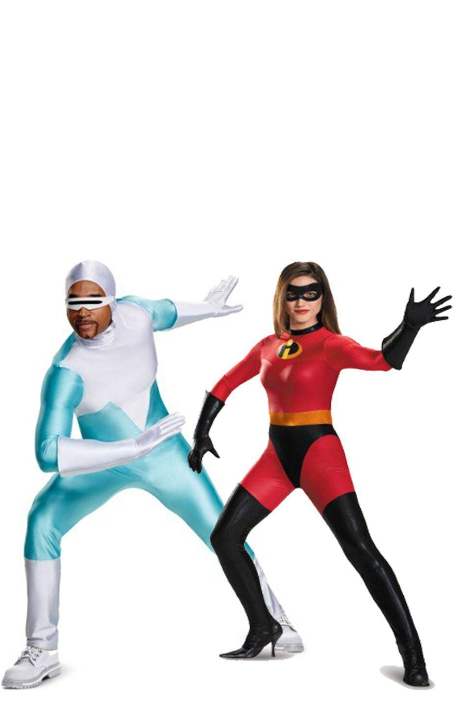 """<p>As fun as Mr. Incredible is, Frozone is even better. Change up the classic Mr. and Mrs. Incredible look and opt for everyone's favorite guy known for manipulating moisture. </p><p><a class=""""link rapid-noclick-resp"""" href=""""https://go.redirectingat.com?id=74968X1596630&url=https%3A%2F%2Fwww.halloweencostumes.com%2Fdisney-incredibles-2-deluxe-adult-frozone-costume.html&sref=https%3A%2F%2Fwww.womansday.com%2Fstyle%2Fg28691602%2Fdisney-couples-costumes%2F"""" rel=""""nofollow noopener"""" target=""""_blank"""" data-ylk=""""slk:SHOP FROZONE COSTUME"""">SHOP FROZONE COSTUME</a></p><p><a class=""""link rapid-noclick-resp"""" href=""""https://go.redirectingat.com?id=74968X1596630&url=https%3A%2F%2Fwww.halloweencostumes.com%2Fmrs-incredible-bodysuit-costume.html&sref=https%3A%2F%2Fwww.womansday.com%2Fstyle%2Fg28691602%2Fdisney-couples-costumes%2F"""" rel=""""nofollow noopener"""" target=""""_blank"""" data-ylk=""""slk:SHOP MRS. INCREDIBLE COSTUME"""">SHOP MRS. INCREDIBLE COSTUME</a> </p>"""