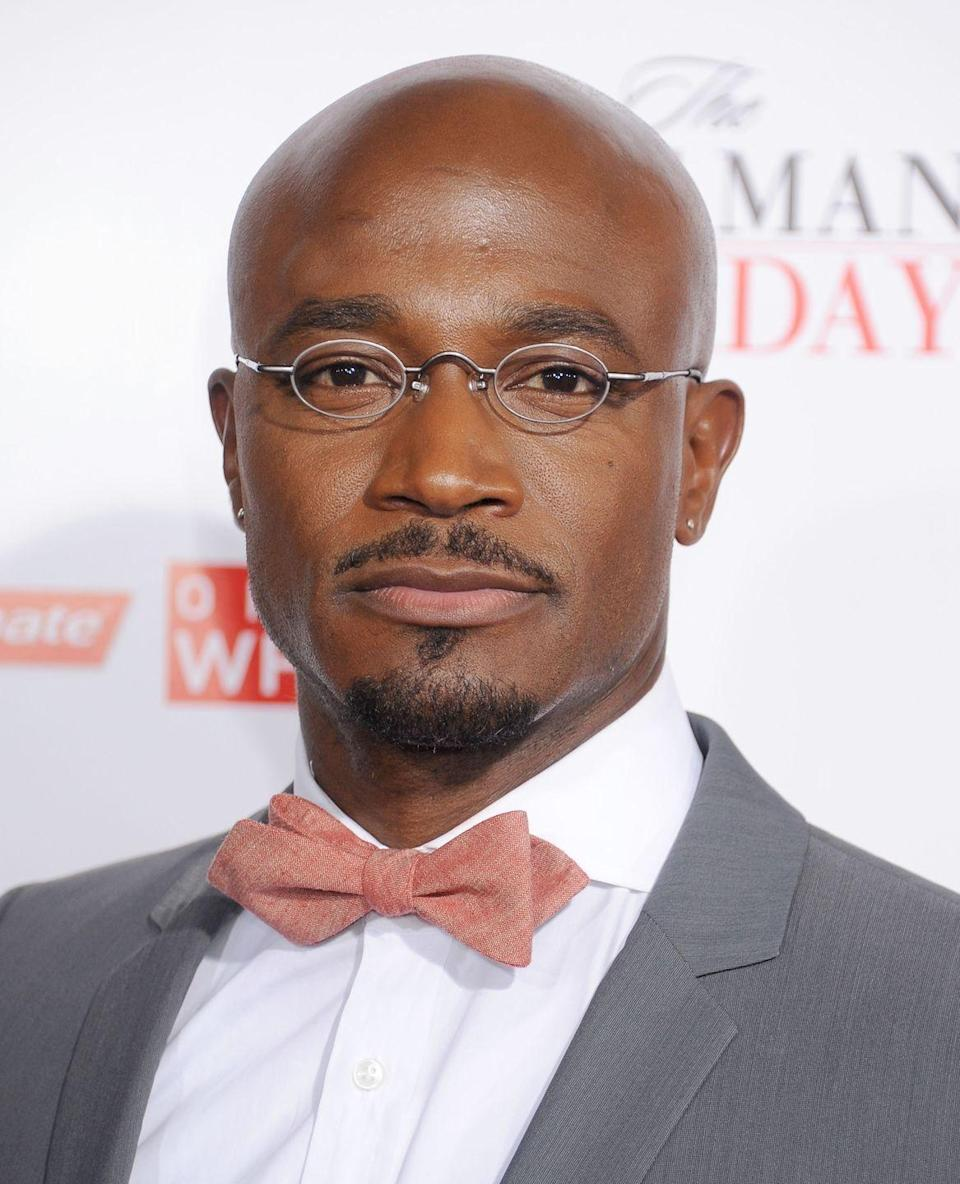 """<p>Taye Diggs decided not to fight the inevitable and shaved his head when he realized he was loosing his hair. """"So as soon as I saw those corners inching towards the back of my head, I took it all off—as opposed to just watching the hair fade away,"""" Diggs told <a href=""""https://www.menshealth.com/style/a19533172/taye-diggs-better-with-age/"""" rel=""""nofollow noopener"""" target=""""_blank"""" data-ylk=""""slk:Men's Health"""" class=""""link rapid-noclick-resp"""">Men's Health</a> in 2015. </p>"""