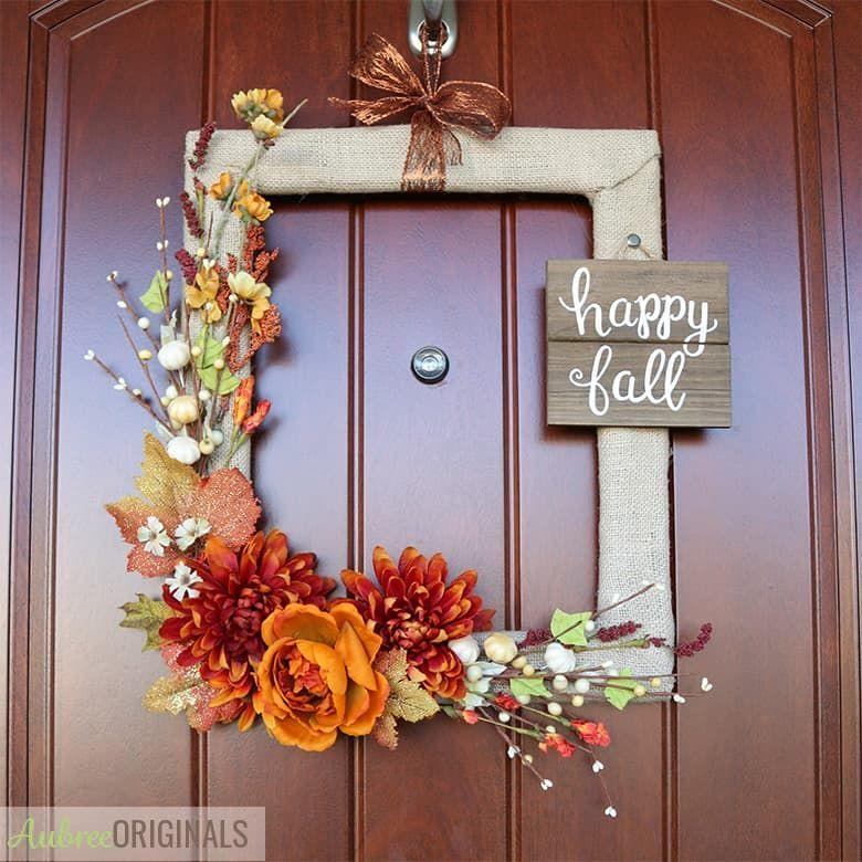 """<p>Head to your local thrift store for an inexpensive and unique way to liven up your front door this fall.</p><p><strong>Get the tutorial at <a href=""""https://www.aubreeoriginals.com/simple-fall-wreath-from-a-thrifted-picture-frame/"""" rel=""""nofollow noopener"""" target=""""_blank"""" data-ylk=""""slk:Aubree Originals"""" class=""""link rapid-noclick-resp"""">Aubree Originals</a>.</strong> </p>"""