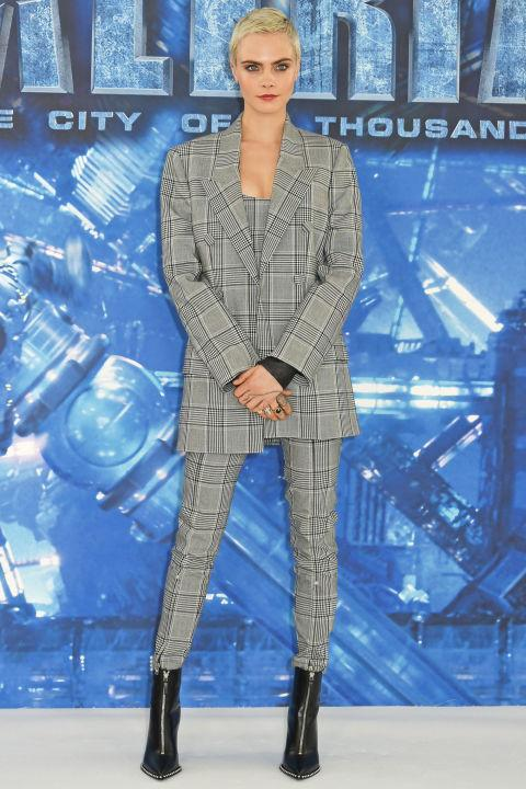 <p><strong>24 July</strong> Cara Delevingne paired her heritage-print three-piece suit with black zip-up boots to attend a <em>Valerian</em> photocall in London.</p>
