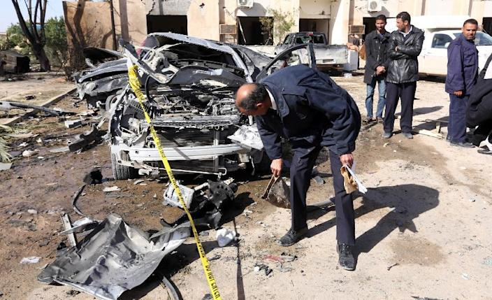 There was no immediate claim of responsibility for the attack but the Islamic State group, which has been growing in power in Libya, has carried out many suicide bombings in the country (AFP Photo/Mahmud Turkia)