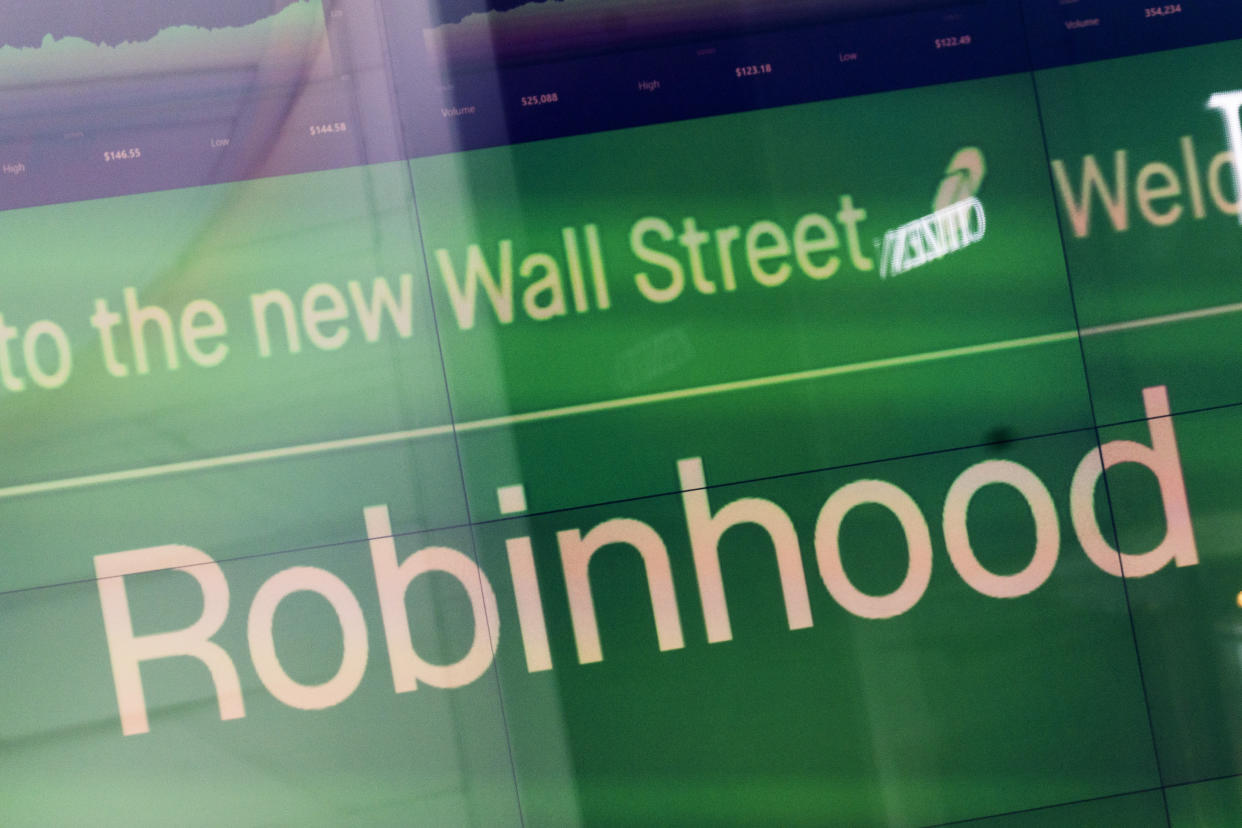An electronic screen at Nasdaq displays Robinhood in New York's Times Square following the company's IPO last month