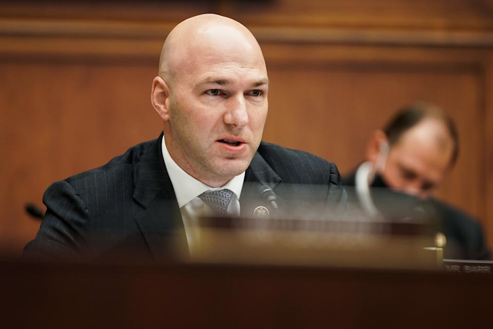 Rep. Anthony Gonzalez, R-Ohio, during a House Financial Services Committee hearing. (Greg Nash/The Hill/Bloomberg via Getty Images)