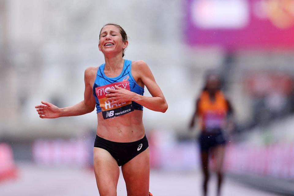 <p>Sara Hall reacts as she crosses the finish line in second place</p>