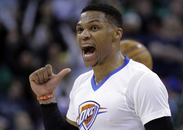 """<a class=""""link rapid-noclick-resp"""" href=""""/nba/players/4390/"""" data-ylk=""""slk:Russell Westbrook"""">Russell Westbrook</a> wants your attention. (AP)"""