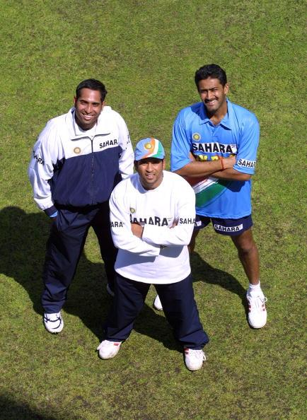 LONDON - 20 JUNE:  (L to R) VVS Laxman, Sachin Tendulkar and Anil Kumble of India pose at nets during a training session prior the triangular series against Sri Lanka and England, at Lord's, London on 20 June, 2002. (photo by Craig Prentis/Getty Images)