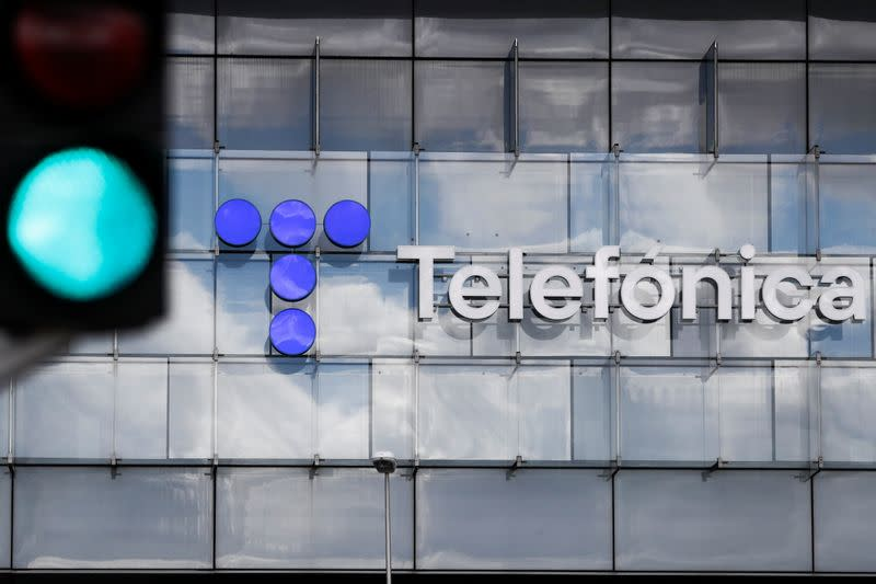 The logo of Spanish Telecom company Telefonica is seen in Madrid