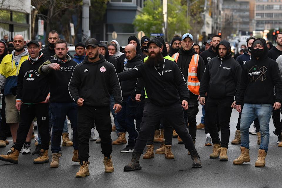 A protest outside the Construction, Forestry, Maritime, Mining and Energy Union (CFMEU) headquarters turned violent on Monday. Source: AAP