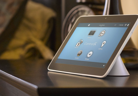 Tablet showing Control4's smart-home interface.