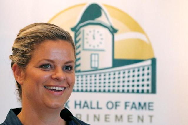 Kim Clijsters of Belgium smiles during a news conference before being inducted into the International Tennis Hall of Fame in Newport