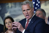 House Minority Leader Kevin McCarthy, R-Calif., joined at left by House Republican Conference Chair Elise Stefanik, R-N.Y., holds a news conference to charge China with a coverup of the origin of COVID-19, at the Capitol in Washington, Wednesday, June 23, 2021. (AP Photo/J. Scott Applewhite)
