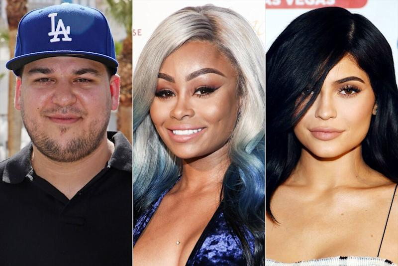 Rob Kardashian, Blac Chyna, Kylie Jenner | Gabe Ginsberg/Getty; Invision/AP/REX/Shutterstock; Denise Truscello/WireImage