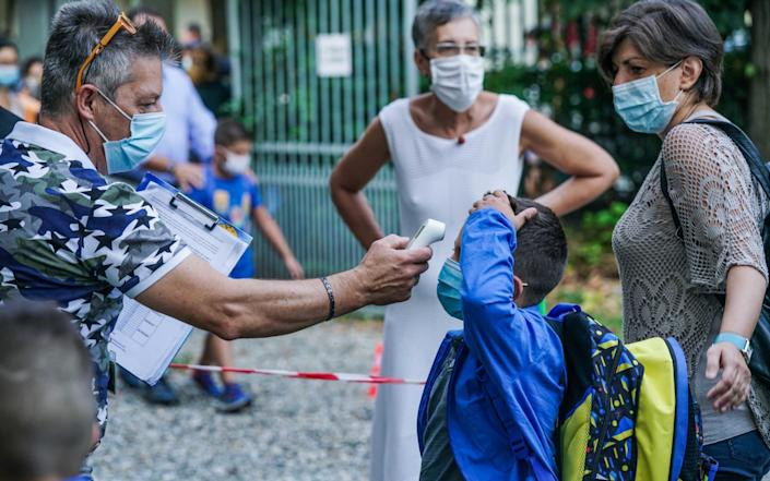 Students have their temperature checked as they arrive at Baricco primary school in Turin, Italy - TINO ROMANO/EPA-EFE/Shutterstock