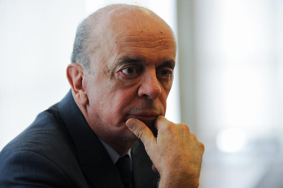 Brazil's Foreign Minister Jose Serra looks on during a meeting with the president of the Venezuelan National Assembly, Deputy Julio Borges (out of frame) at Itamaraty Palace, in Brasilia, February 8, 2017. / AFP / ANDRESSA ANHOLETE        (Photo credit should read ANDRESSA ANHOLETE/AFP via Getty Images)