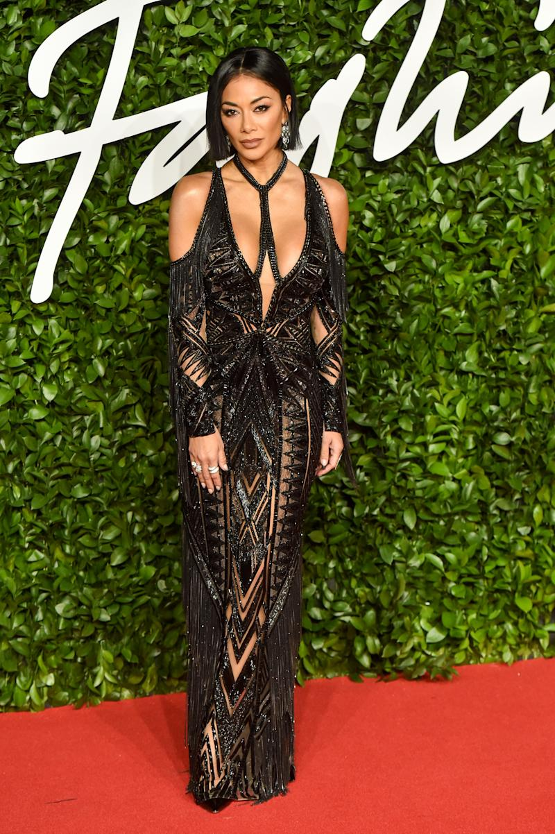 Nicole Scherzinger turned up the oomph factor in this beaded number. Photo: Getty Images