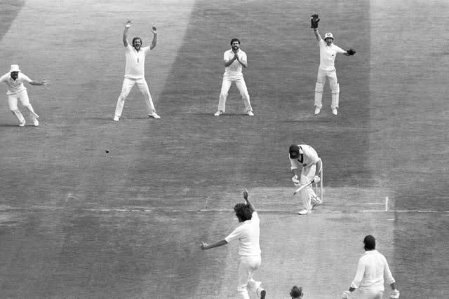 Australia's Geoff Lawson is dismissed by Willis for five during the second Test of The 1981 Ashes (PA)