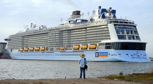 Nearly 200 passengers on one of the world's largest cruise ships are being treated for gastro as the liner docks in Hobart. The ship is pictured in a file photo from February. Source: AAP, file