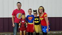 """<p>Have your kid pick a favorite superhero, or dress the whole family in super-style! These simple costumes start with T-shirts and tutus, and they're modest enough for anyone. </p><p><strong>Get the tutorial at <a href=""""https://sugarbeecrafts.com/family-costume-superheros"""" rel=""""nofollow noopener"""" target=""""_blank"""" data-ylk=""""slk:Sugar Bee Crafts"""" class=""""link rapid-noclick-resp"""">Sugar Bee Crafts</a>.</strong></p><p><a class=""""link rapid-noclick-resp"""" href=""""https://www.amazon.com/Warner-Bros-T-Shirts-Superman-Aquaman/dp/B07Z8GZ42N/ref=sr_1_2?crid=92CCK6GEF2S8&dchild=1&keywords=superhero%2Btshirts%2Bfor%2Bboys&qid=1592937783&sprefix=super%2Bhero%2Bt%2Caps%2C158&sr=8-2&th=1&psc=1&tag=syn-yahoo-20&ascsubtag=%5Bartid%7C10050.g.21603260%5Bsrc%7Cyahoo-us"""" rel=""""nofollow noopener"""" target=""""_blank"""" data-ylk=""""slk:SHOP T-SHIRTS"""">SHOP T-SHIRTS</a></p>"""