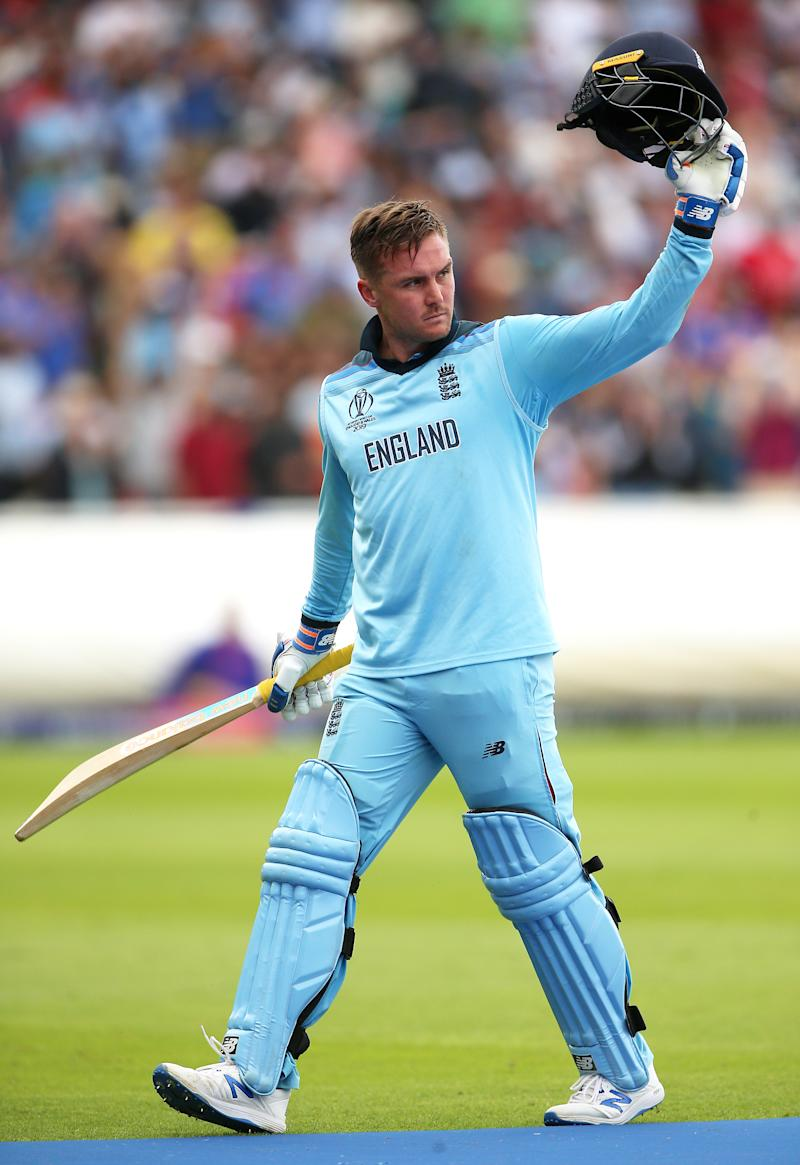 England's Jason Roy appears dejected after being caught out by Australia's Pat Cummins during the ICC World Cup, Semi Final at Edgbaston, Birmingham. (Photo by Nigel French/PA Images via Getty Images)