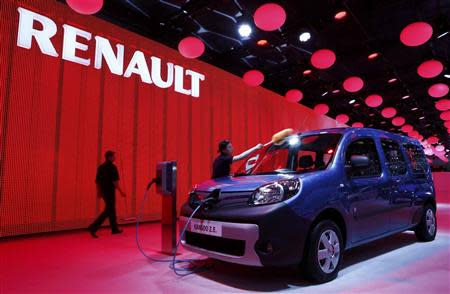Renault Kangoo Z.E. electric car is pictured during the media day ahead of the 84th Geneva Motor Show at the Palexpo Arena in Geneva