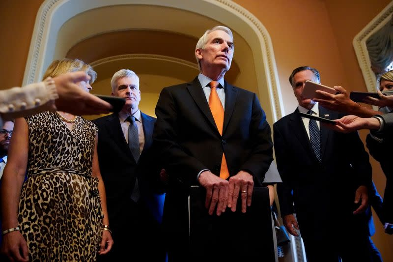 FILE PHOTO: Republican Senators announce agreement on infrastructure at the U.S. Capitol in Washington