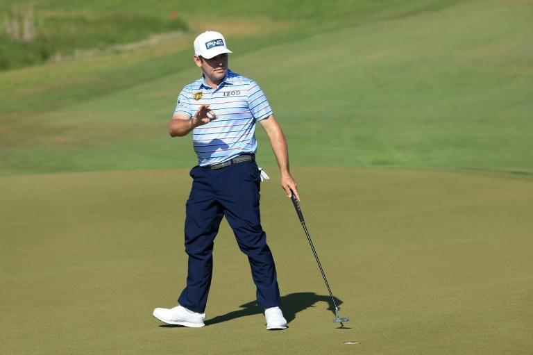 South Africa's Louis Oosthuizen has a share of the 36-hole lead at the US PGA Championship at Kiawah Island, South Carolina