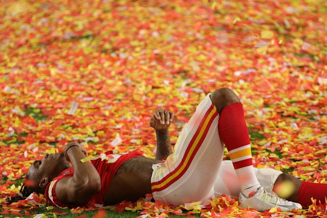 MIAMI, FLORIDA - FEBRUARY 02: Demarcus Robinson #11 of the Kansas City Chiefs celebrates after defeating the San Francisco 49ers in Super Bowl LIV at Hard Rock Stadium on February 02, 2020 in Miami, Florida. (Photo by Sam Greenwood/Getty Images)