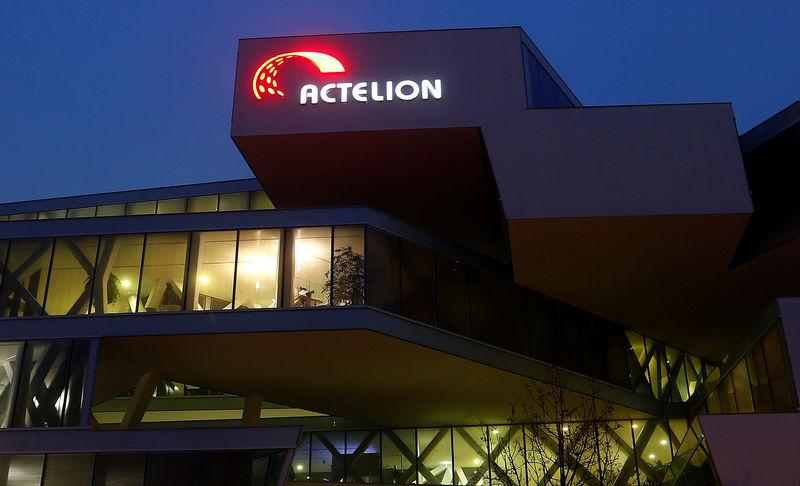 The company's logo is seen at the headquarters of Swiss biotech company Actelion in Allschwil