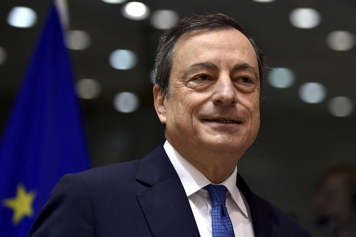ECB President Draghi exchanges views during a Monetary Dialogue with the EU Parliament's Economic and Monetary Affairs Committee in Brussels