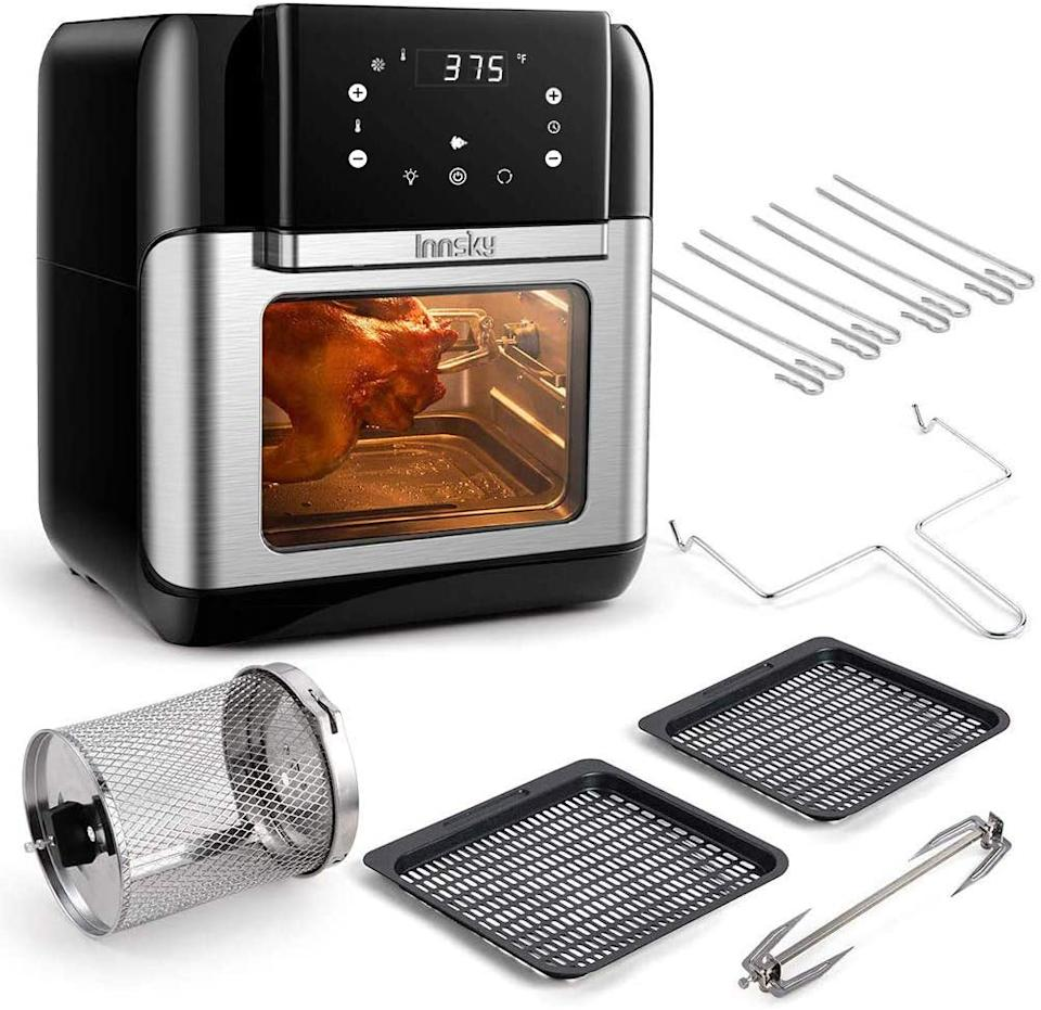 Innsky's 10.6 family size 10-in-1 Air Fryer Oven includes easy to clean cooking accessories. (Image via Amazon).