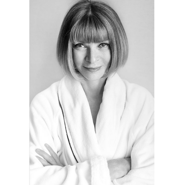 "<p>Mario Testino's ""Towel Series"" typically features celebrities in the buff with towel turbans on their heads and robes tied at their hips. But Anna Wintour's portrait is different. Testino captured the editrix, who's posing with her arms crossed and isn't showing any skin (staying true to her modest manner), wearing a simple white robe. Even more, there's no towel wrapped around Wintour's classic bob.</p>"