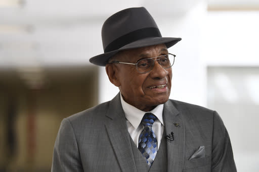 FILE - Willie O'Ree, the first black player to compete in the NHL, arrives for a meeting on Capitol Hill in Washington, in this July 25, 2019, file photo. The Boston Bruins say they are retiring the jersey of Willie ORee, who broke the NHLs color barrier. ORee will have his jersey honored prior to the Bruins Feb. 18 game against the New Jersey Devils. He became the leagues first Black player when he suited up for Boston on Jan. 18, 1958 against the Montreal Canadiens, despite being legally blind in one eye. (AP Photo/Susan Walsh, File)