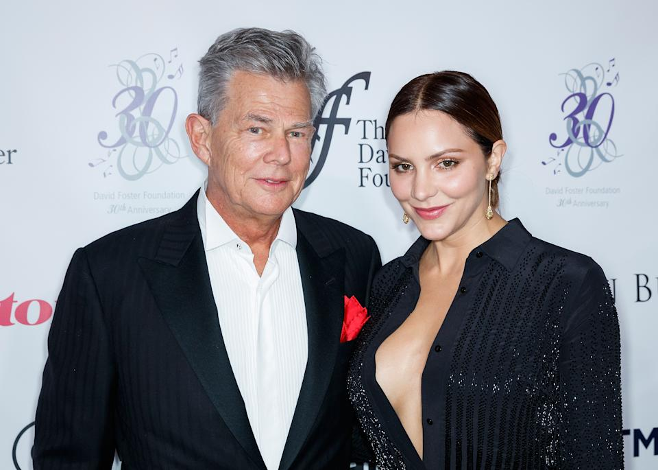 American actress Katharine McPhee and David Foster arrive for the David Foster Foundation Gala at Rogers Arena on October 21, 2017 in Vancouver, Canada.  (Photo by Andrew Chin/Getty Images)