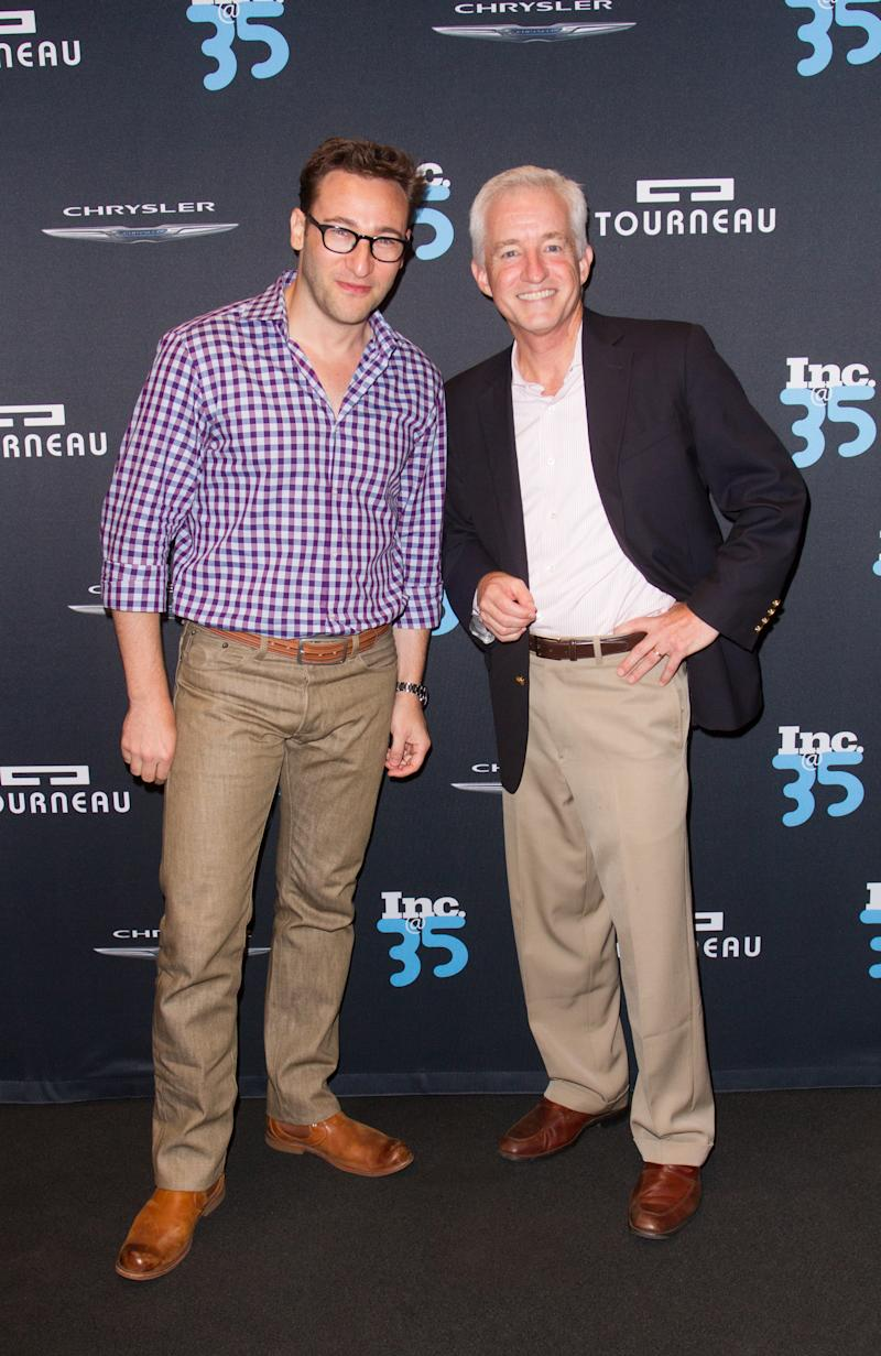 NEW YORK, NY - SEPTEMBER 09: Simon Sinek and Eric Schurenberg attend Inc. Magazine 35th Anniversary Party at Tourneau Time Machine on September 9, 2014 in New York City. (Photo by John Parra/Getty Images for Inc. Magazine)