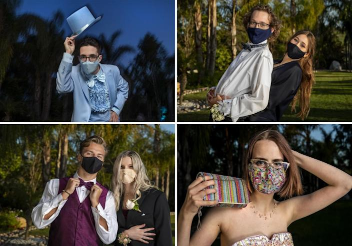 Four photos of students at prom, dipping their hats, hugging a date, showing a handbag that goes with a mask, and adjusting a bow tie.