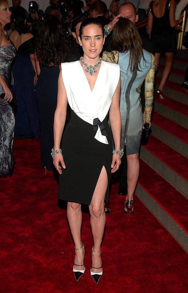"Oscar winner Jennifer Connelly looked a little too casual in Balenciaga at the celeb-infused spectacular. She's a true beauty, but the asymmetrical outfit just didn't work. Michael Loccisano/<a href=""http://www.filmmagic.com/"" target=""new"">FilmMagic.com</a> - May 5, 2008"
