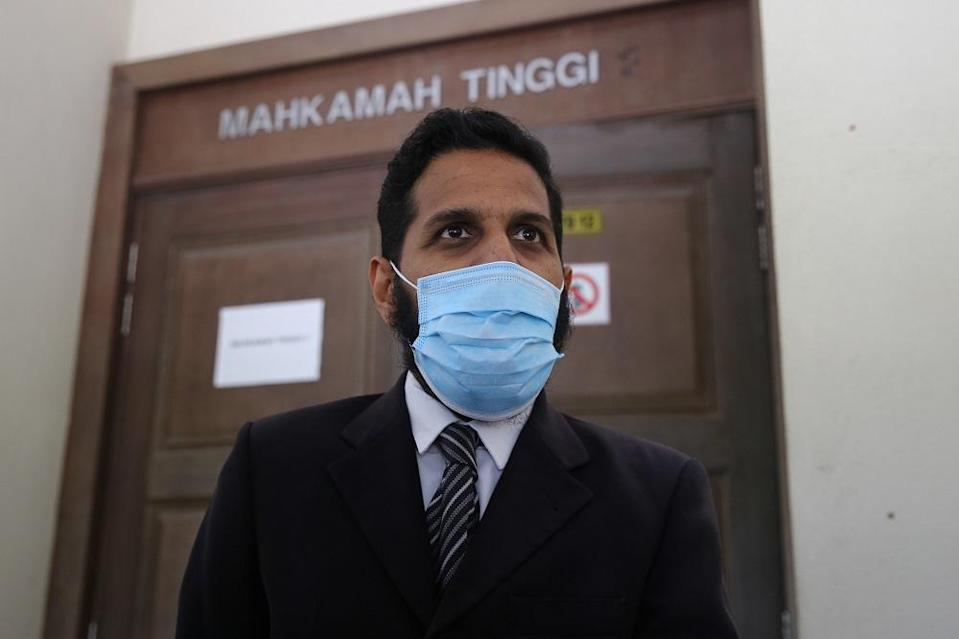 Nora Anne Quoirin's family lawyer S. Sakthyvell speaks to reporters at the Seremban Coroner's Court October 19, 2020. — Picture by Yusof Mat Isa