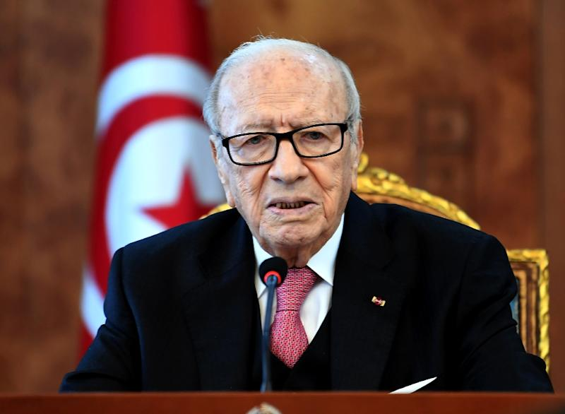 Tunisian President Beji Caid Essebsi at a meeting with political parties, unions and employers on January 13, 2018 to discuss the unrest (AFP Photo/FETHI BELAID)