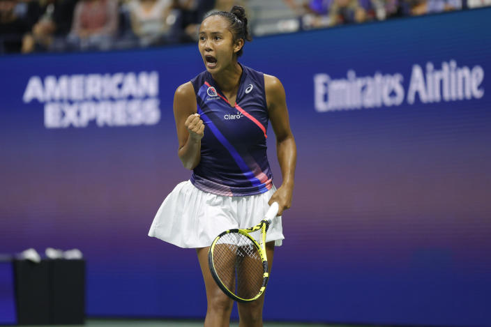 Leylah Annie Fernandez of Canada reacts against Aryna Sabalenka of Belarus during the US Open