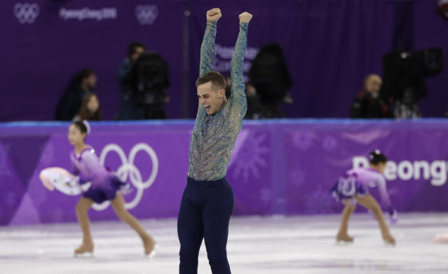 Adam Rippon of the United States reacts following his performance in the men's free figure skating final in the Gangneung Ice Arena at the 2018 Winter Olympics in Gangneung, South Korea, Saturday, Feb. 17, 2018. (AP Photo/David J. Phillip)